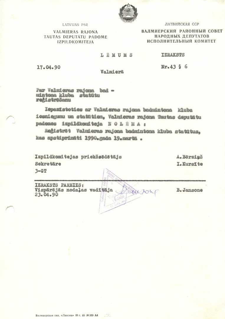 bjk 'gauja' reģistrācijas apliecība 1990