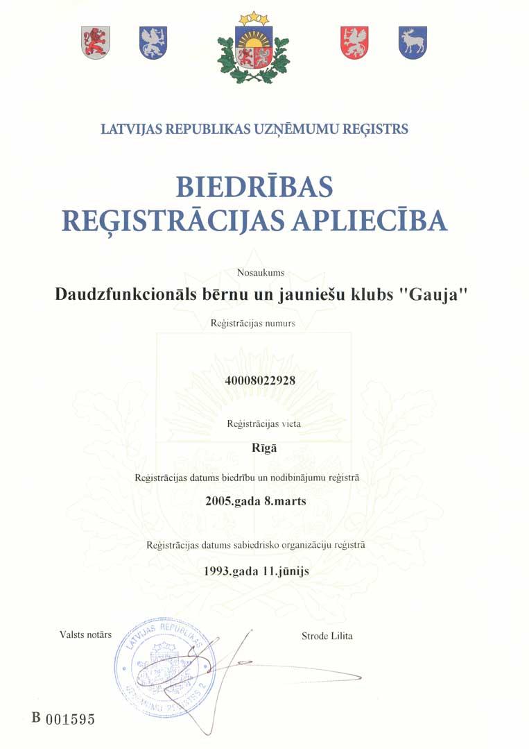 bjk 'gauja' reģistrācijas apliecība 2005